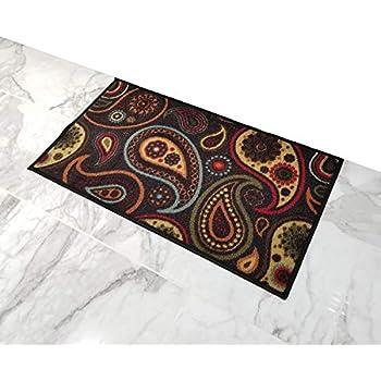 Amazon Com Doormat 18x30 Black Paisley Kitchen Rugs And