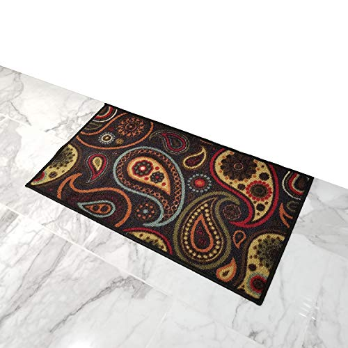 Doormat 18x30 Black Paisley Kitchen Rugs and mats | Rubber Backed Non Skid Rug Living Room Bathroom Nursery Home Decor Under Door Entryway Floor Carpet Non Slip Washable | Made in Europe