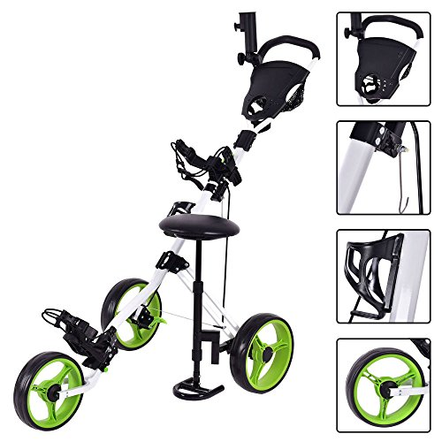 Foldable 3 Wheel Push Pull Golf Club Cart Trolley w/Seat Scoreboard Bag Swivel by Unknown