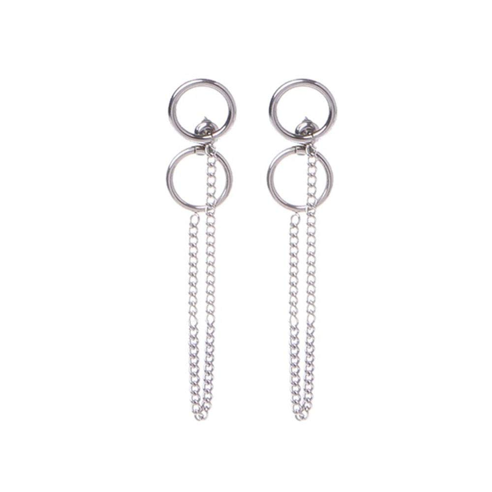 Boys Girls V Stud Doulbe Ring Chain Circle Tassel Earrings Punk MINGHUA