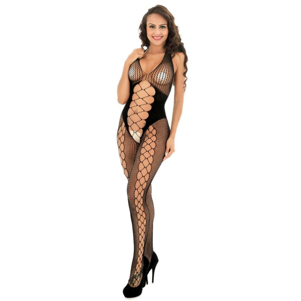 HARRYSTORE Women Open Crotch Bodystockings Perspective Print Underwear Fishnet Pajama