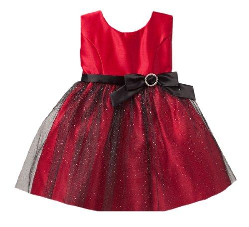 Sweet Kids Baby-Girls Satin & Glitter Mesh Dress 6M Sm Red (SK B440)