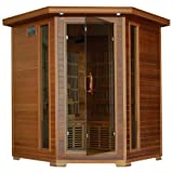 Cheap Radiant Saunas BSA1320 Infrared Sauna Room for 4 People with Cedar Frame, 10 Carbon Heaters, Chromotherapy and Air Purifier, 3-4 Person, Dark Woodgrain