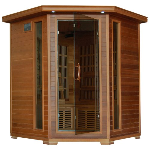 4-Person Cedar Corner Infrared Sauna w/ 10 Carbon Heaters (Cedar Sauna)