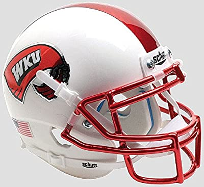 Western Kentucky Hilltoppers Mini XP Authentic Helmet Schutt White with Chrome Mask