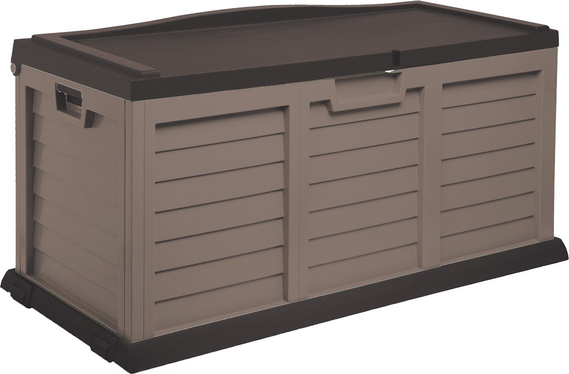 Starplast Deck Box with Sit-On Cover, 103 gallon, Mocha/Brown 74811
