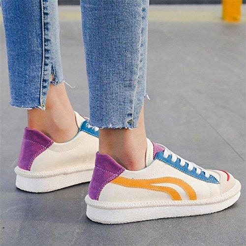 d'été Noir Toile Chaussures Round noir pour EU36 femmes NAN Toe Casual chaussures taille Couleur plates UK3 confortable blanc CN35 5 wI16qnt