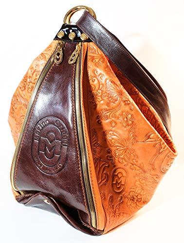 Marino Orlandi Embossed Leather Fashion Backpack Sling Bucket Bag Italy ac2edbf90d99e