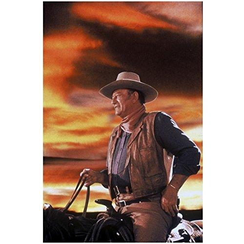John Wayne The Duke 8 x 10 Photo on Horse Beautiful Sky Tan Hat Blue Shirt Brown Vest Kerchief kn Photograph