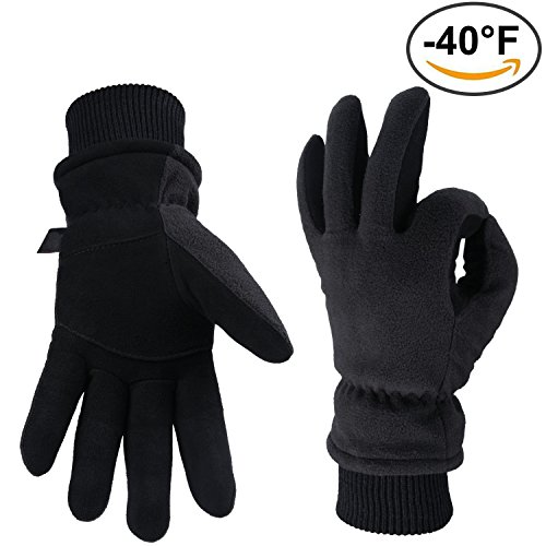 - Winter Gloves -40°F Cold Proof Thermal Glove - Deerskin Suede Leather Palm and Polar Fleece Back with Heatlok Insulated Cotton Layer - Keep Warm in Cold Weather for Women and Men (Black, X-Large)