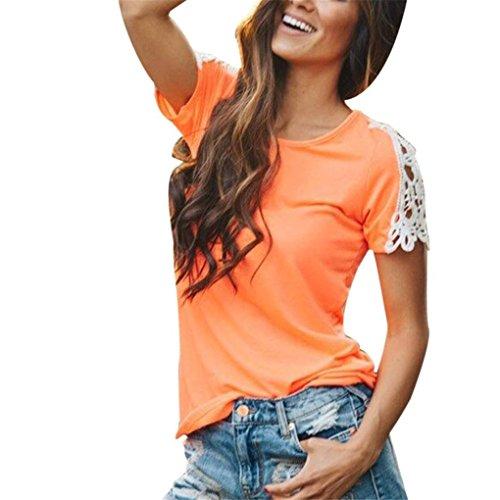 haoricu Women Blouse, Summer Women Casual Short Sleeve Patchwork Lace Solid Top T-Shirt