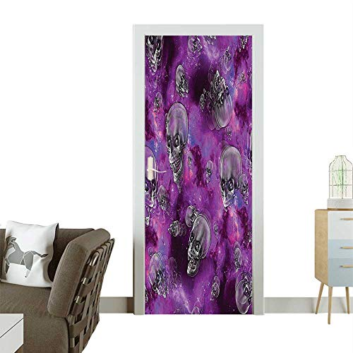 Decorative Door Decal Horror Movie Themed Flying Skull Heads Halloween in Outer Space Bathroom Stick The Picture on The doorW32 x H80 INCH -
