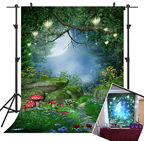 Mehofoto Enchanted Forest Backdrop Mushrooms and Fairy Lanterns Photo Background 7x5ft Fairy Forest Backdrops for Children Kid's Birthday Party Studio Props (Enchanted Fairy Forest)