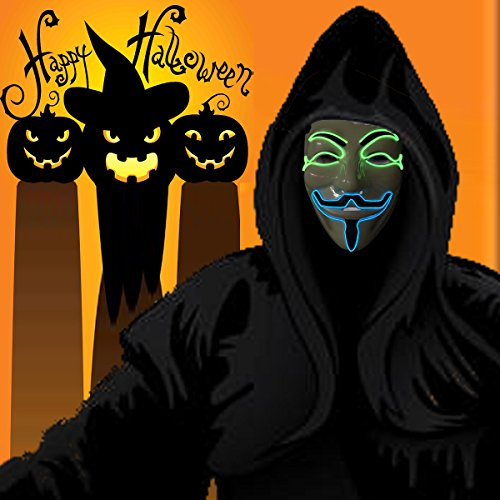 Wireless masquerades masks / guy fawkes mask / halloween mask / light up mask / fawkes mask / Dj mask / wireless mask with on and flash blue/green by one (Creepy Carnival Music For Halloween)