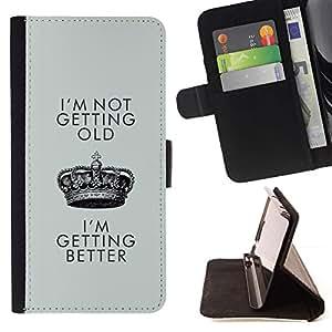 Momo Phone Case / Flip Funda de Cuero Case Cover - Mejor de cumpleaños de Crown King - Samsung Galaxy S5 V SM-G900