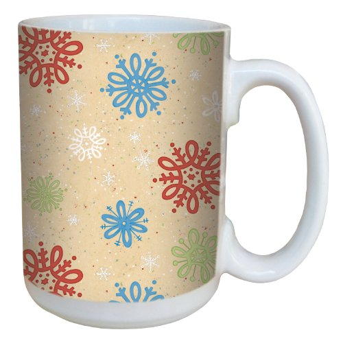(Tree-Free Greetings 79313 Sweet Snowflakes by Debbie Mumm Ceramic Mug with Full-Sized Handle, 15-Ounce )