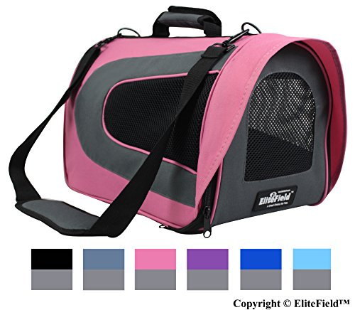 EliteField Deluxe Soft Pet Carrier (3 Year Warranty, Airline Approved), Multiple Sizes and Colors Available (18″ L x 10″ W x 11″ H, Pink+Gray)