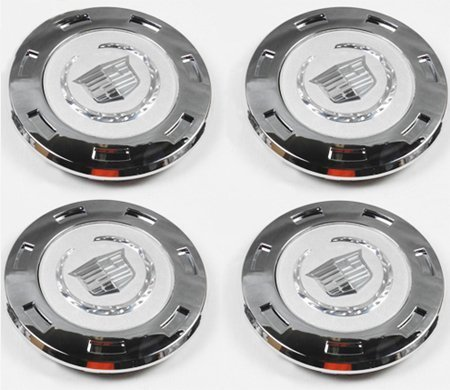 CC25 9596649 07-12 Cadillac Escalade Set 4PCS Chrome Crest 22'' with 8'' Wheel Center caps 07 08 09 2010 2011 2012 by Replacement