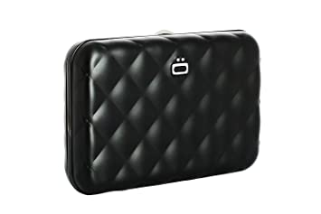 Ögon QB-Black Tarjetero Quilted Button Cartera de Aluminio ...