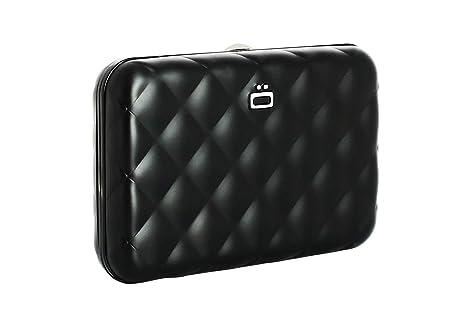 Ögon QB-Black Tarjetero Quilted Button Cartera de Aluminio Anodizado Cerradura de Metal Negro