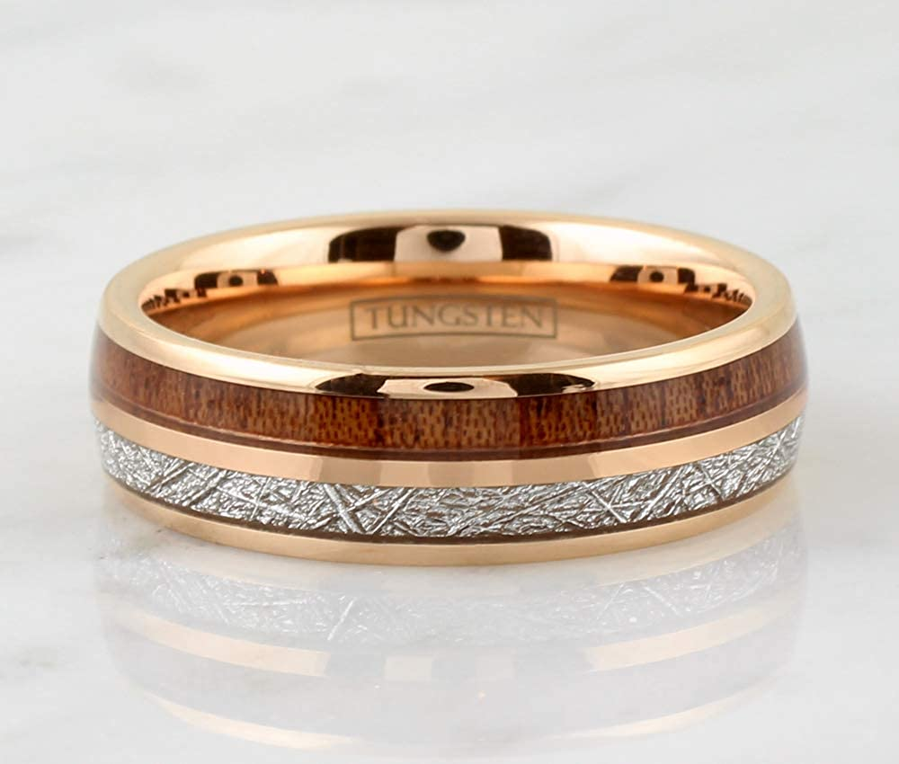 Kings Cross Opulent /& Ornate 6mm//8mm Rose Gold Tungsten Carbide Low Dome Band Ring w//Faux Meteorite /& Koa Wood Inlays feat Comfort Fit Inner Band.