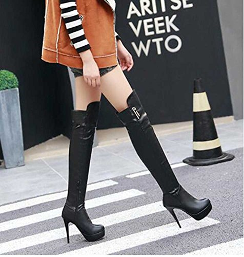 CHFSO Womens Sexy Stiletto Solid Round Toe Zipper High Heel Platform Above The Knee Boots Black xaMb1LNk