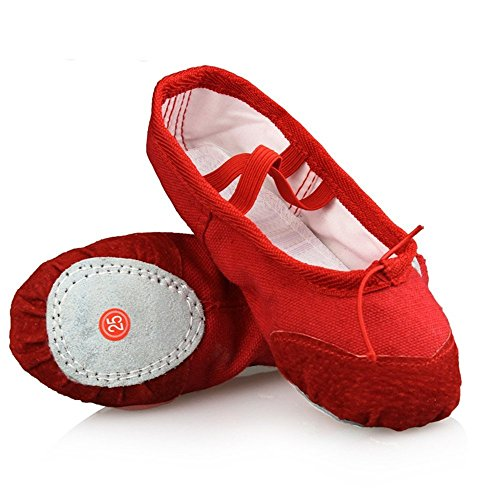 DADAWEN Girl's Canvas Ballet Slipper Shoes Split-Sole Dance Flat (Toddler/Little Kid/Big Kid) Red US Size 1.5 M Little (Us Size Chart Kids)