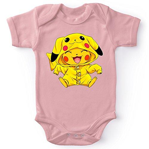 Korte mouwen Roze Babyromper (meisje) parodie Pokémon – Pikachu – Ultimate Cosplay (Hoogwaardig Babyromper – bedrukt in…