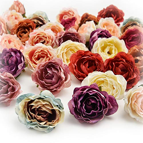 Fake flower heads in bulk wholesale for Crafts Flower Head Silk Rose DIY Scrapbooking Decorative Flower Heads Decor for Home Garden Wedding Birthday Party Decoration Supplies 30PCS 4cm (Colorful) ()