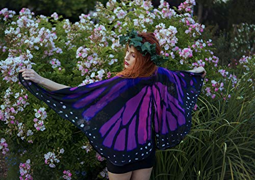 - Pink and purple butterfly monarch cape, dance short wings cloak, costume