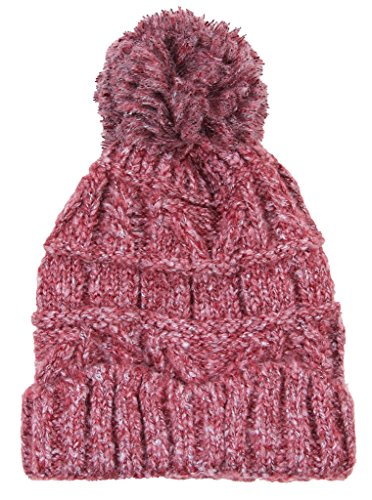 Fashion Love Pom Pom Solid Color Cable Knit Warm Winter Stretch Cap Super Soft (Burgundy Wine) (Super Stretch Knit Hat)