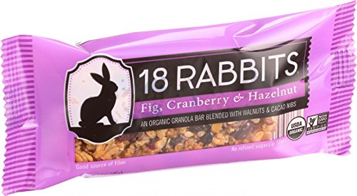 18 Rabbits Organic Granola Bar - Fig Cranberry and Hazelnut - Case of 12 - 1.6 oz Bars - 95%+ Organic - Dairy Free - Wheat Free -