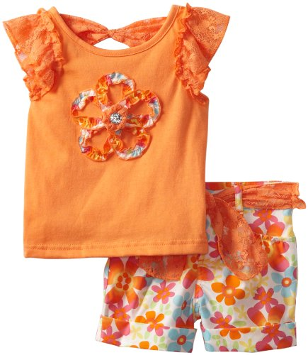 Little Lass Girls 2-6X 2 Piece Short Set With Lace Belt