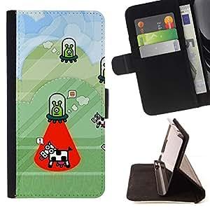Momo Phone Case / Flip Funda de Cuero Case Cover - Secuestro vaca Funny Cartoon Conspiración - HTC One Mini 2 M8 MINI