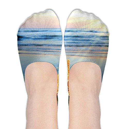 (PangYuen Wonderful Starfish And Shell At The Seaside Women's Polyester Cotton Socks Ladies Boat Socks Deodorant Boat Socks Thin Section Casual Socks Low Breast Socks)