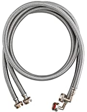 Eastman 41065 Washing Machine Hose with 90-Degree Elbow, 3/4-Inch X 3/4-Inch, Chrome, 1-Pair