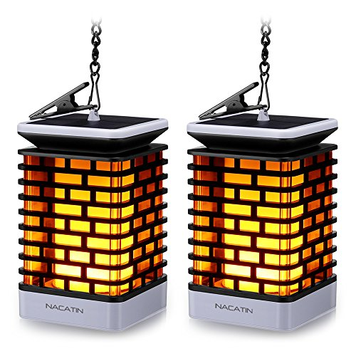 Hanging Flame Lamp - NACATIN 99 LEDs Hanging Solar Light, Solar Flame Lights Decorative Lamp with 50cm Hanging Chain and Clip for Home, Garden, Balcony, Yard, Automatic On/Off(2 Pack)