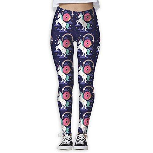- DYOW Women's Donut Holding A Rainbow Riding A Unicorn In The Galaxy Print Sports Gym Yoga Leggings Pants