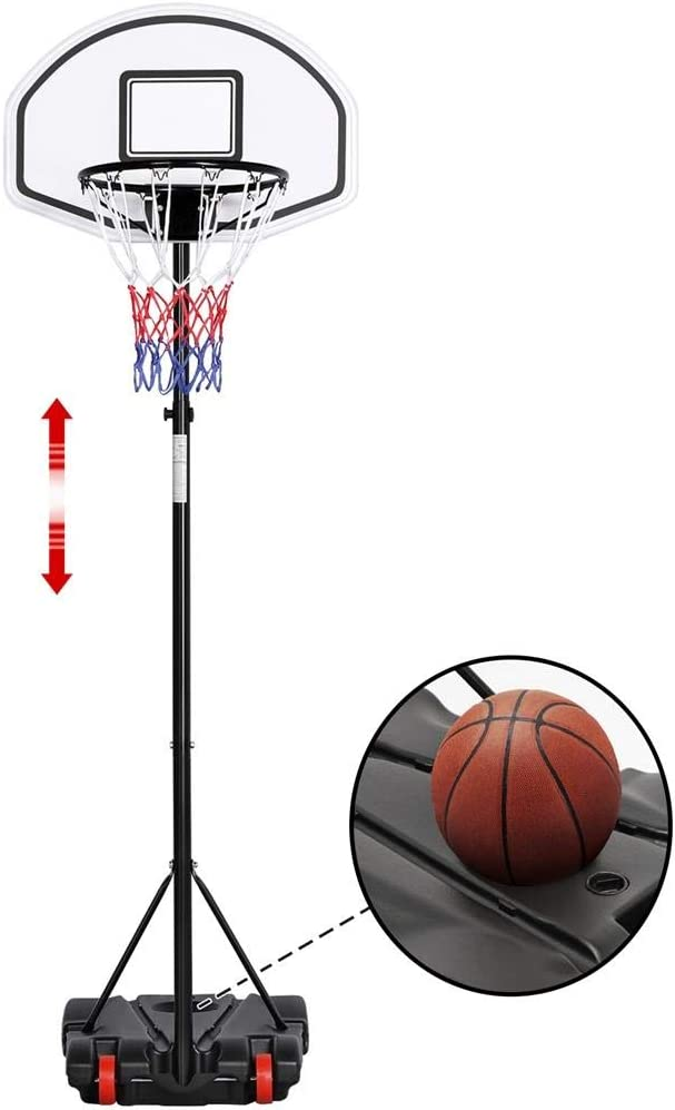 OneTwoFit Adjustable Height Portable Basketball Hoop System Backboard Outdoor