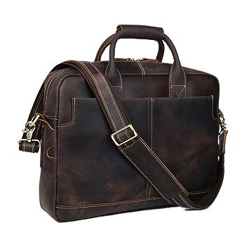 XBCC El maletín de los Hombres, totalizador de Cuero del Ordenador portátil de la Bolsa de Mensajero de Crossbody Brown de los Hombres: Amazon.es: ...