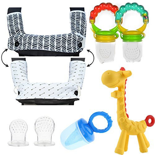 Teething Drooling Baby Set Includes Teething Pads for Ergobaby 360 Carrier, 2 Baby Fresh Fruit feeders, mesh Feeder, 2 Infant Pacifiers and Girafee Teether Toy for Infants Toddlers