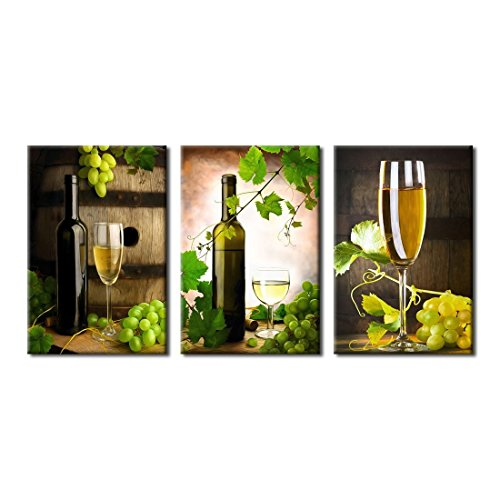 Wall Art Canvas Painting Grapes and Wine - 3 Piece Framed Canvas Art 20