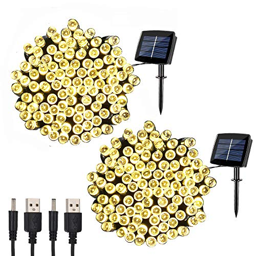 woohaha Solar Fairy String Lights Outdoor Waterproof, 2 Pack 72ft 200LED Updated Version 6hrs Timer Function with USB Cable Solar Powered String Lights for Christmas Patio Garden Party(Warm White) by woohaha