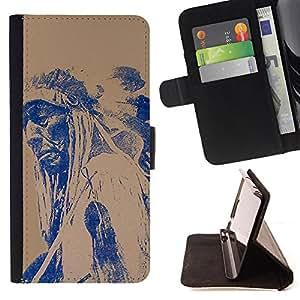 - American Indian Red Indian Feather - - Caso de la cubierta de la piel cierre magnšŠtico Cartera de cuero del tirš®n FOR Apple iPhone 5 5S Justin City