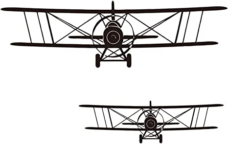 LELE LIFE 2Pcs Airplane Wall Sticker Cool Art Mural for Kids Boys Removable DIY Aircraft Wall Decal for Living Room Bedroom Home Decor Biplane