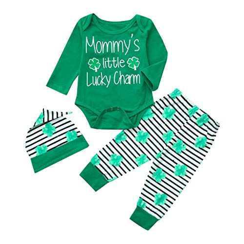 Newborn Baby St. Patrick's Day Lucky Green Shamrock Romper +Striped Pants+Hat+ Head Band 4Pcs Cotton Clothing Set (0-3Months, Green -