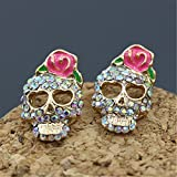 TraveT Rhinestones Crystal Skull Rose Earrings Stud Earrings Jewelry