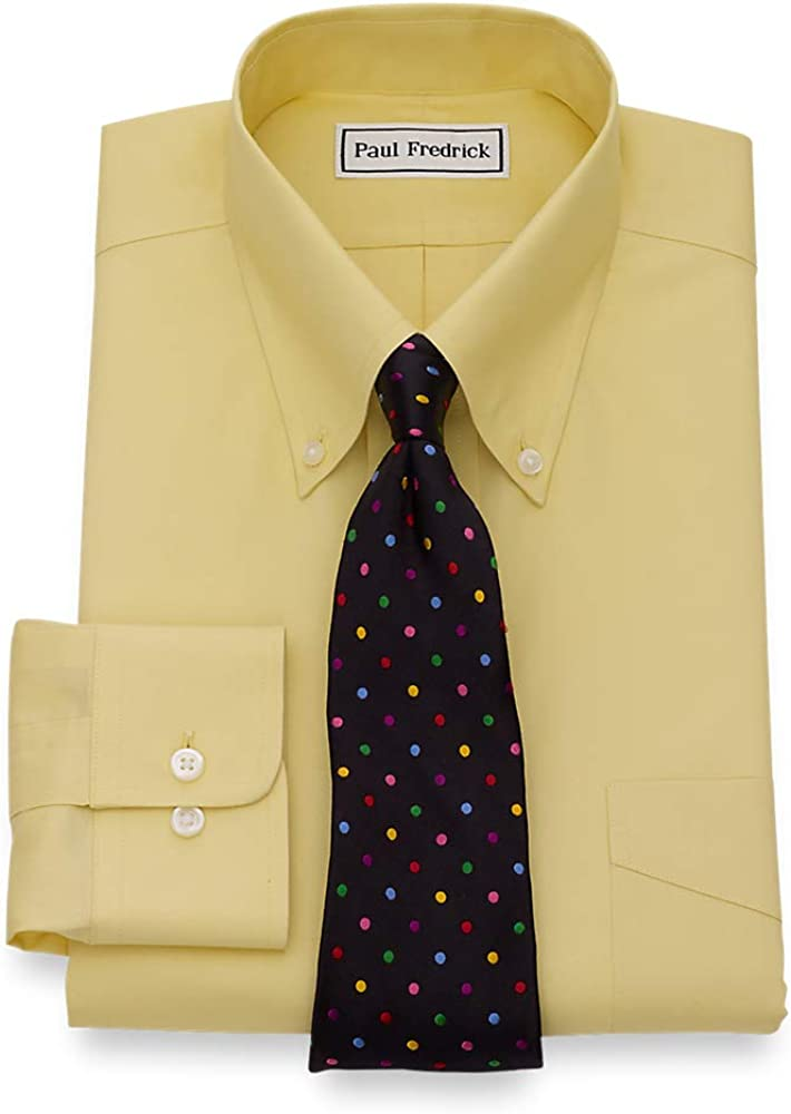 Paul Fredrick Mens Slim Fit Non-Iron Cotton Button Down Collar Dress Shirt Yellow 15.5//34
