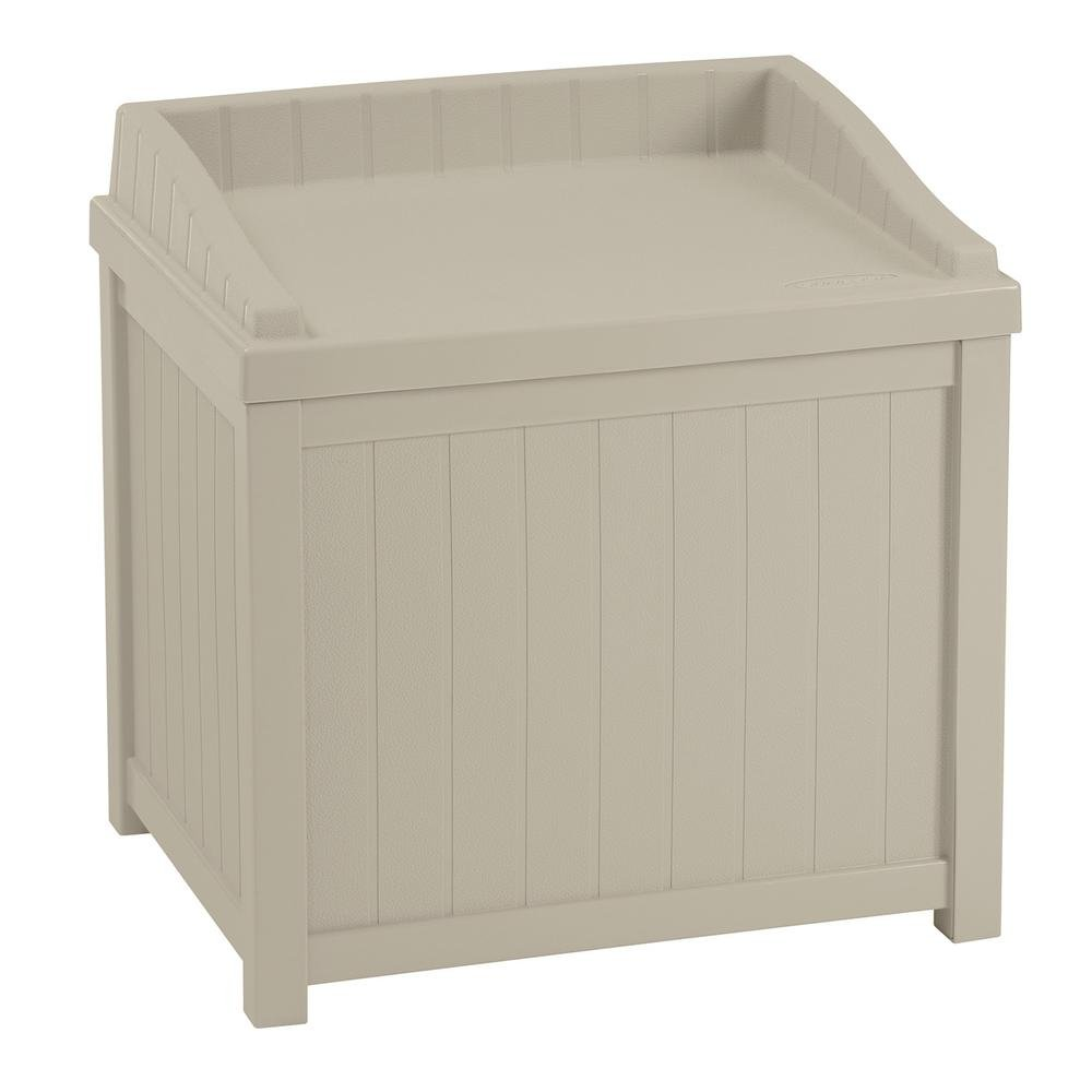 22 Gal. Small Storage Seat Patio Deck Box in Light Taupe Finish