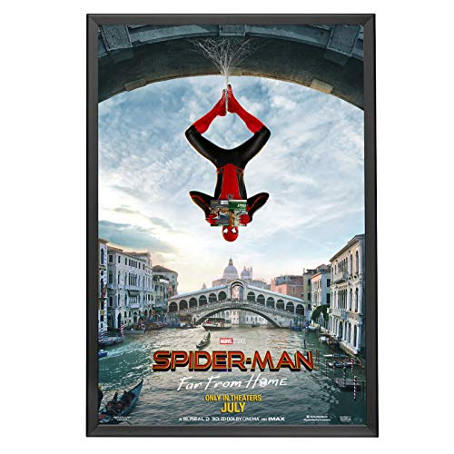 SnapeZo Black 27x40 Poster Frame for Movie Posters, 1.25 Inch Aluminum Profile, Front-Loading Snap Frame, Wall Mounting, Professional Series for One Sheet Movie Posters (Posters Of Movies)